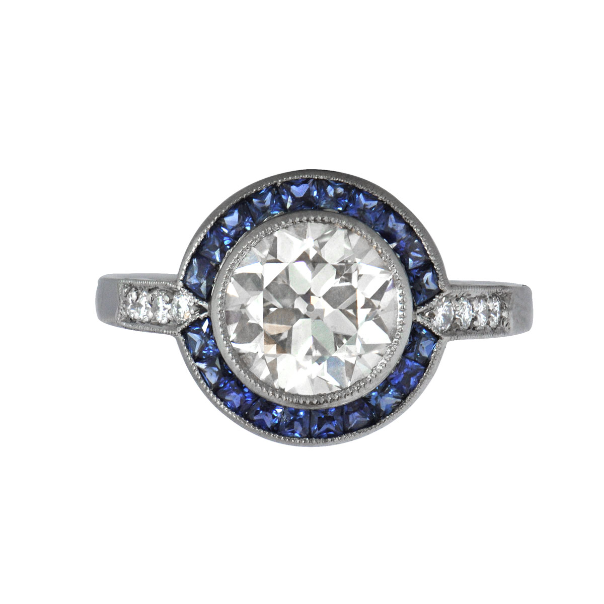 1 88ct Diamond and Sapphire Engagement Ring Estate Diamond Jewelry