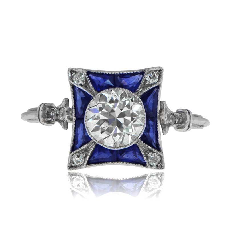 Home art deco style diamond amp sapphire ring in platinum