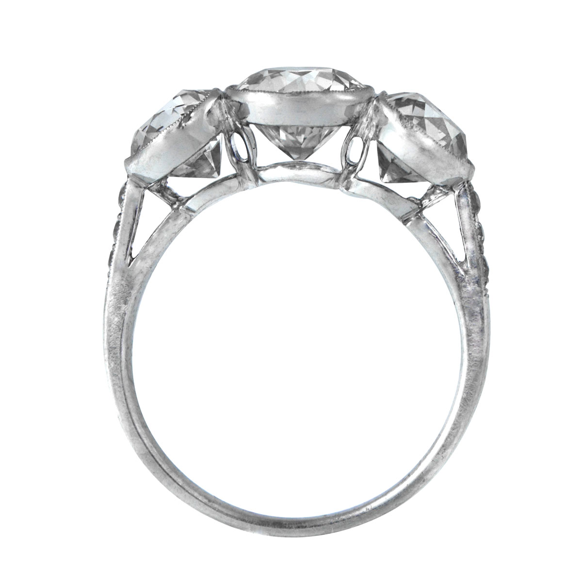 Diamond Ring Drawing Three stone bezel diamond ring