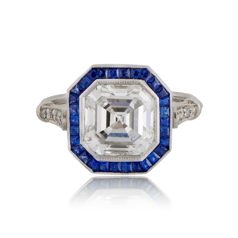 Asscher Cut Diamond and Sapphire Ring - Estate Diamond Jewelry