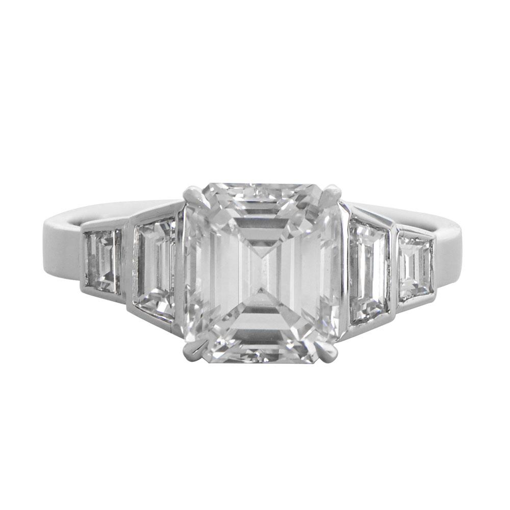 Engagement ring emerald cut diamond engagement rings cz non diamond