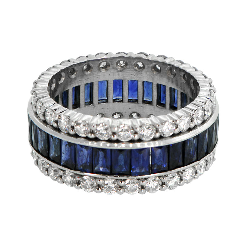 Vintage Sapphire and Diamond Wedding Band Estate Diamond Jewelry