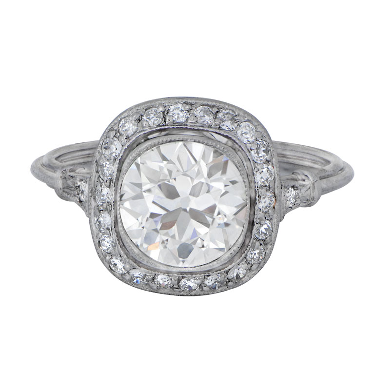 Halo Diamond Engagement Ring Estate Diamond Jewelry