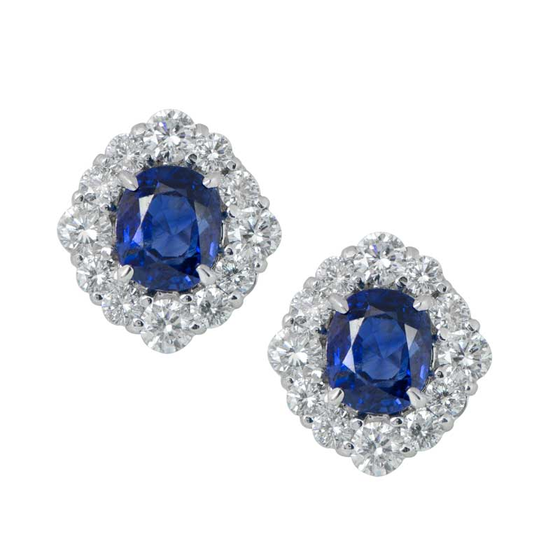 Vintage Sapphire and Diamond Earrings Estate Diamond Jewelry