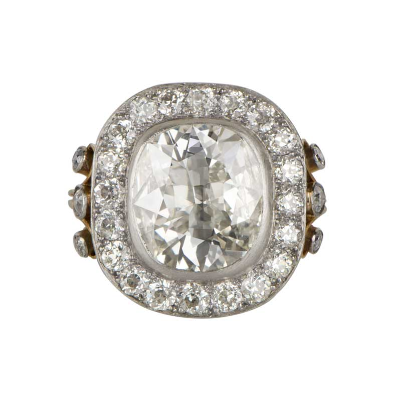 4 04ct Cushion Cut Diamond Engagement Ring Estate Diamond Jewelry