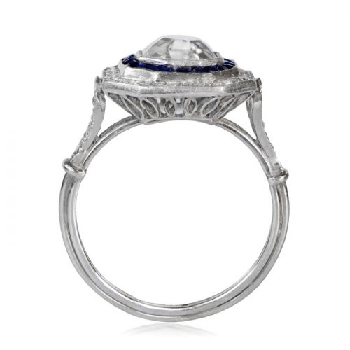 Sapphire and Diamond Halo Asscher Cut Ring