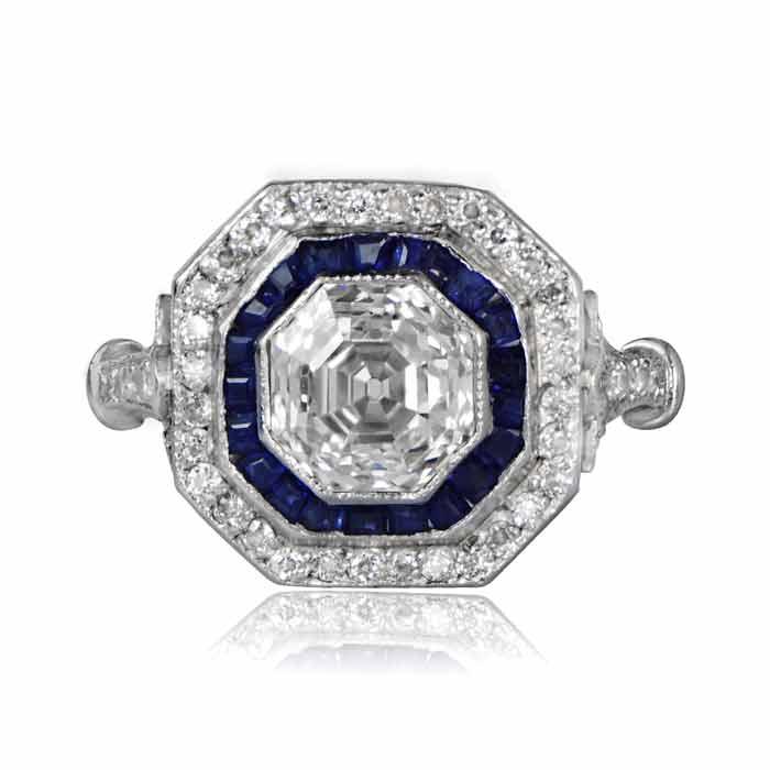 1.45ct Asscher Cut Diamond and Sapphire Ring