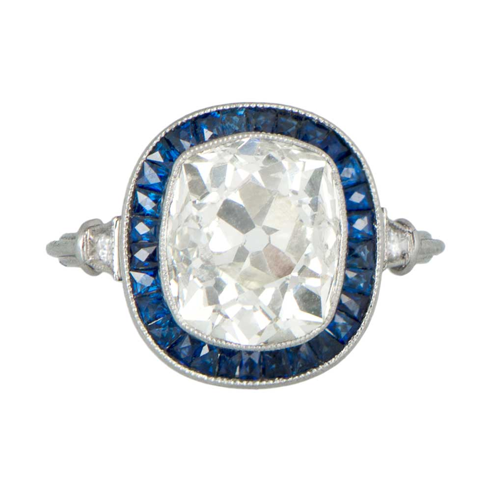 Cushion Cut Diamond and Sapphire Engagement Ring