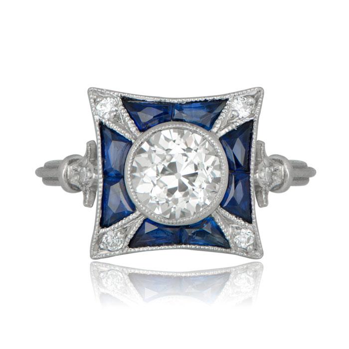 Art Deco Style Ring In Platinum Estate Diamond Jewelry