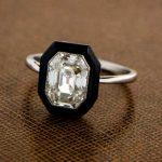 Antique Emerald Cut Diamond With Onyx Halo Engagement