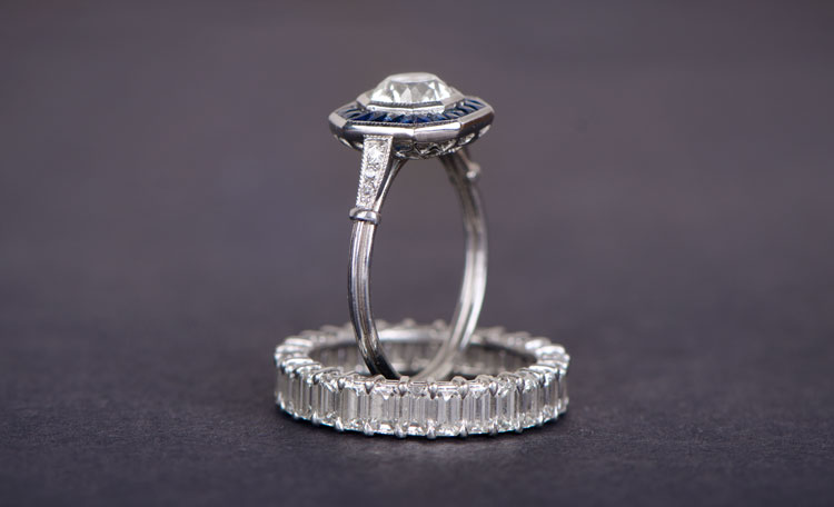 Close-up shot of diamond vintage engagement rings