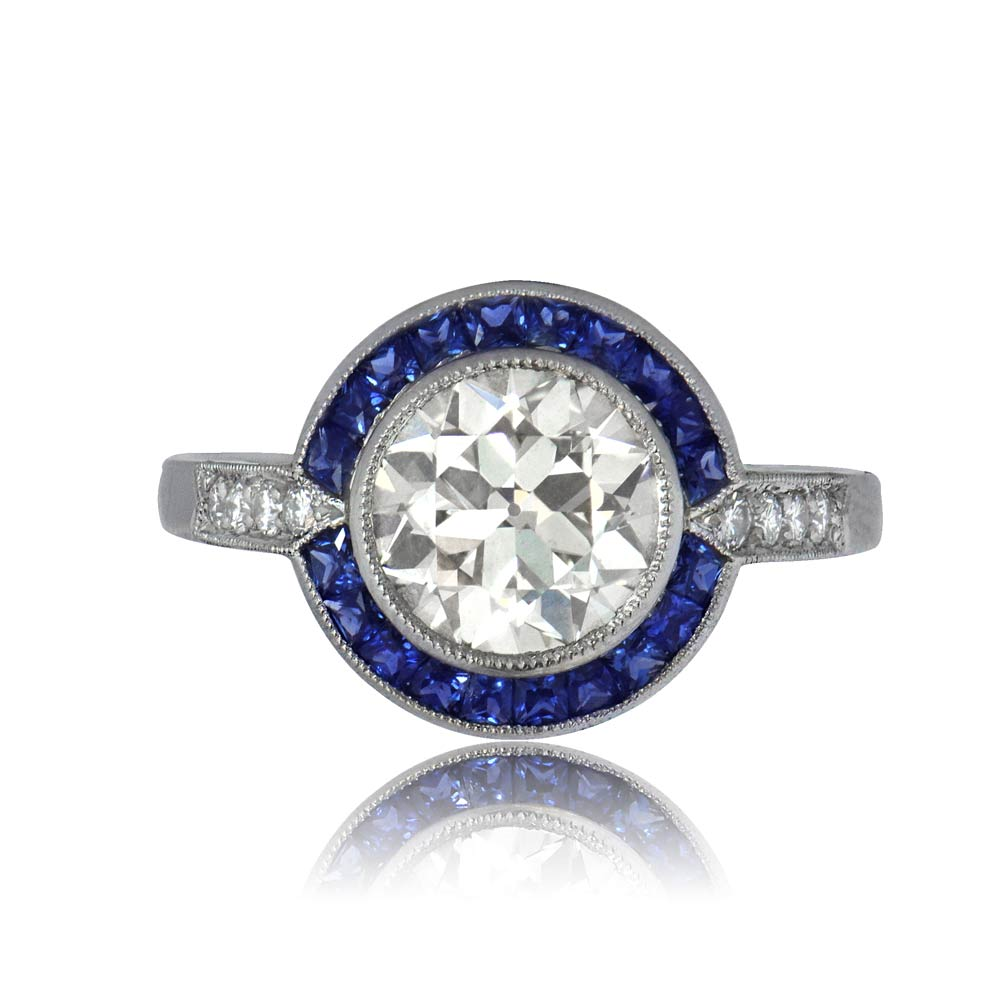 11092 vintage diamond and sapphire halo engagement ring tv