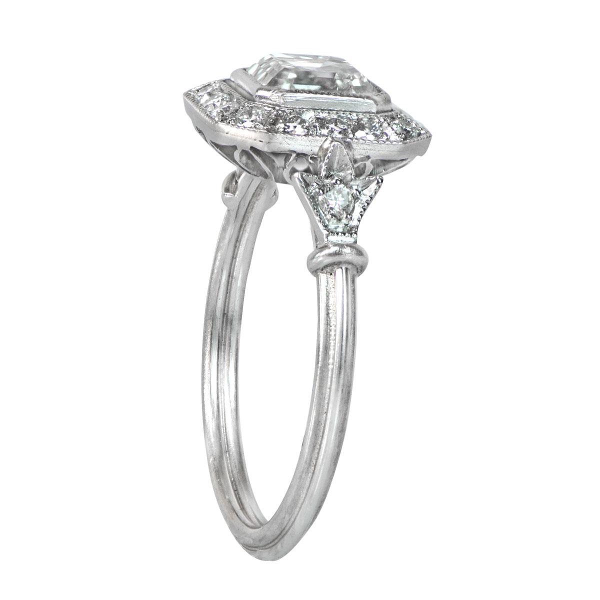 Art Deco Style Asscher-Cut Diamond Ring - SOLD