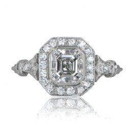 Halo Asscher Cut Diamond Engagement Ring