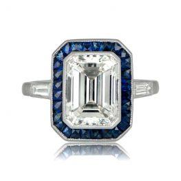 Diamond Sapphire Halo Ring
