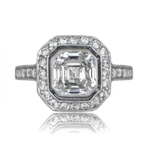 Asscher Diamond Platinum Engagement Ring