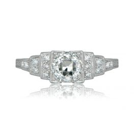 Vintage Style Step Accent Engagement Ring