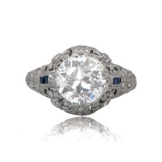 Antique Diamond and Sapphire Engagement Ring