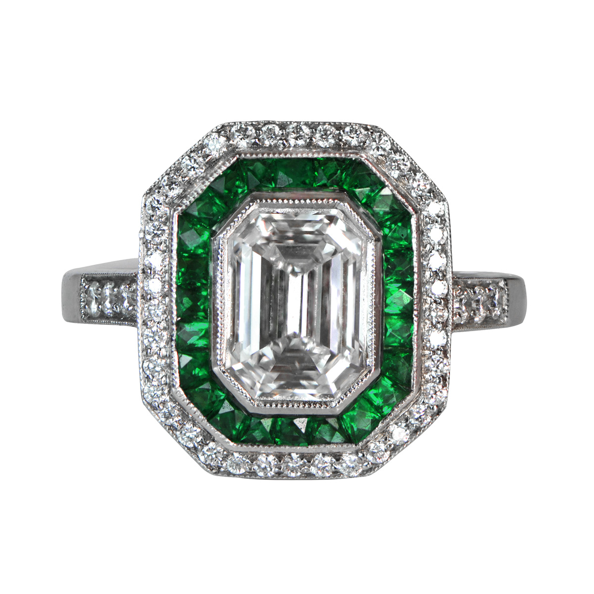 Emerald and diamonds 4040412 estate diamond jewelry for Emerald and diamond wedding ring