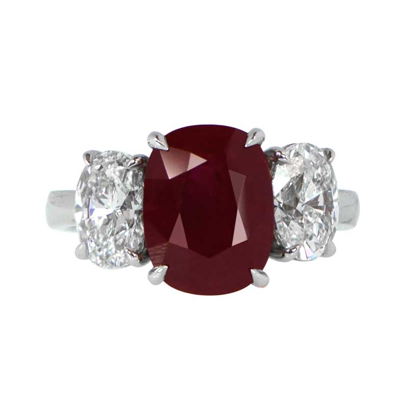 Ruby and diamond engagement ring estate diamond jewelry for Wedding rings with rubies and diamonds