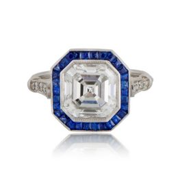 Asscher Cut Diamond Ring with Sapphire Halo