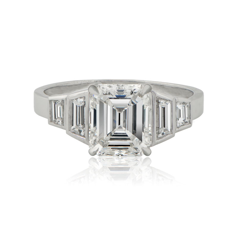cut diamond platinum midcentury carat rings ring wedding asscher engagement