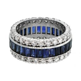 Vintage Sapphire and Diamond Wedding Band