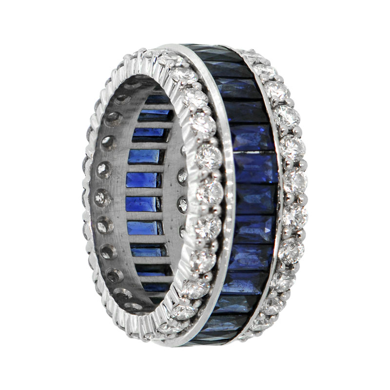 Sapphire and Diamond Wedding Band Estate Diamond Jewelry