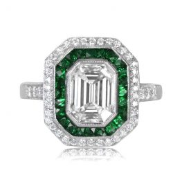 emerald cut halo engagement ring