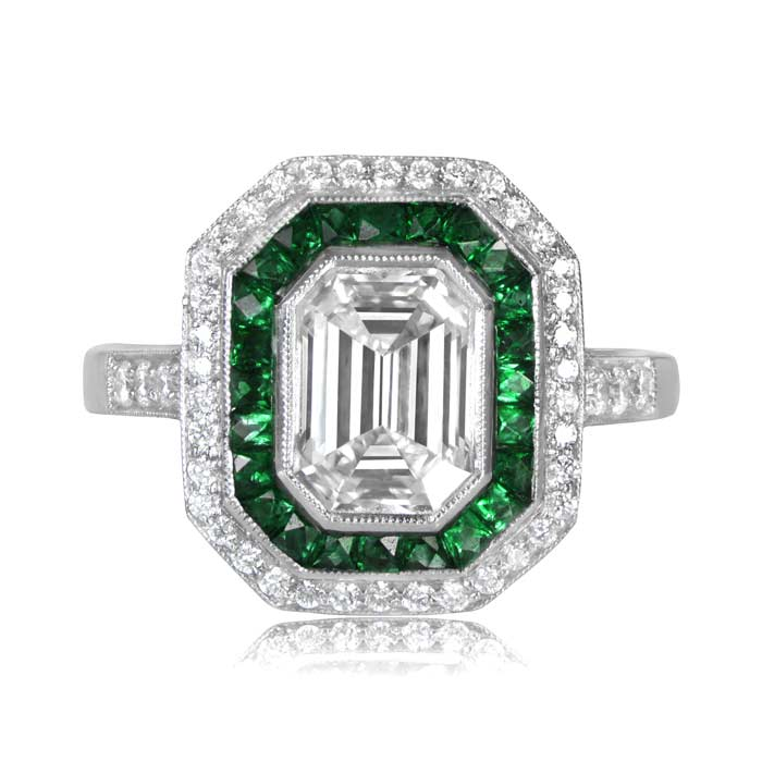 emerald diamond yellow rings foundry jewellery gold profile ring low cut altana marie set in engagement products bezel