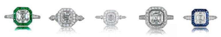 Collection of Asscher Cut Diamond Engagement Rings