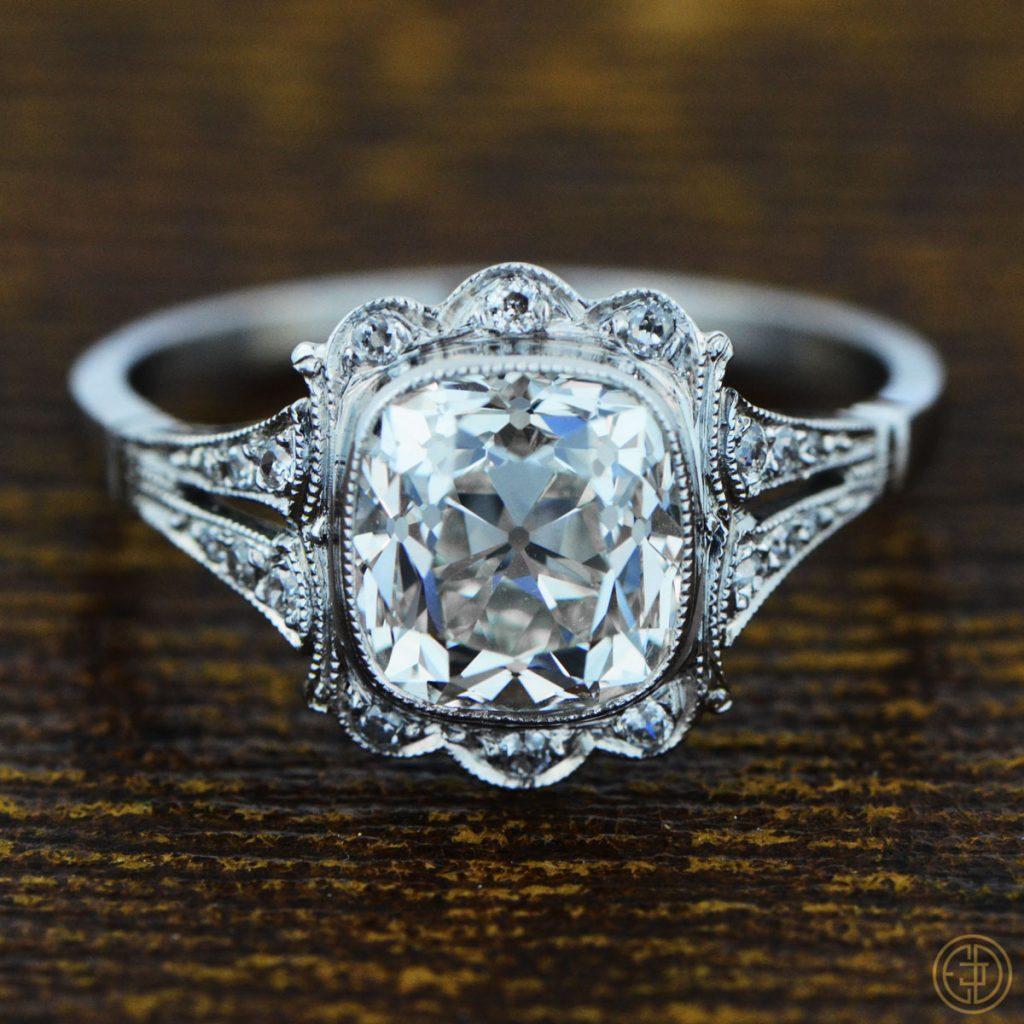 cushion cut diamond rings more vintage treasures. Black Bedroom Furniture Sets. Home Design Ideas