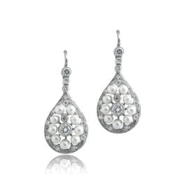 Pearl Platinum Earrings