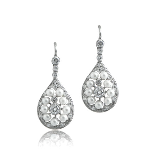 Pearl Platinum Earrings