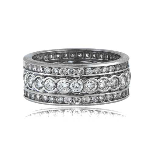 Platinum Diamond Triple Band Estate Diamond Jewelry