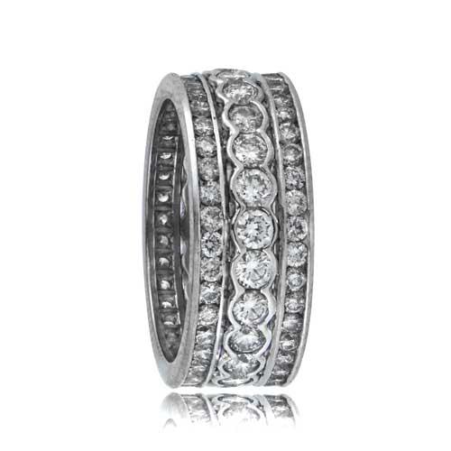 Platinum Diamond Triple Band Estate Diamond Jewelry