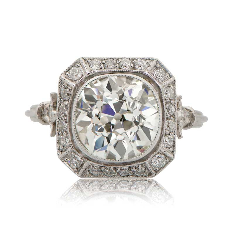 Art Deco Style Diamond Engagement Ring With Halo