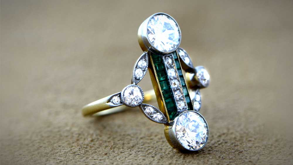 Antique Edwardian Engagement Ring on Carpet
