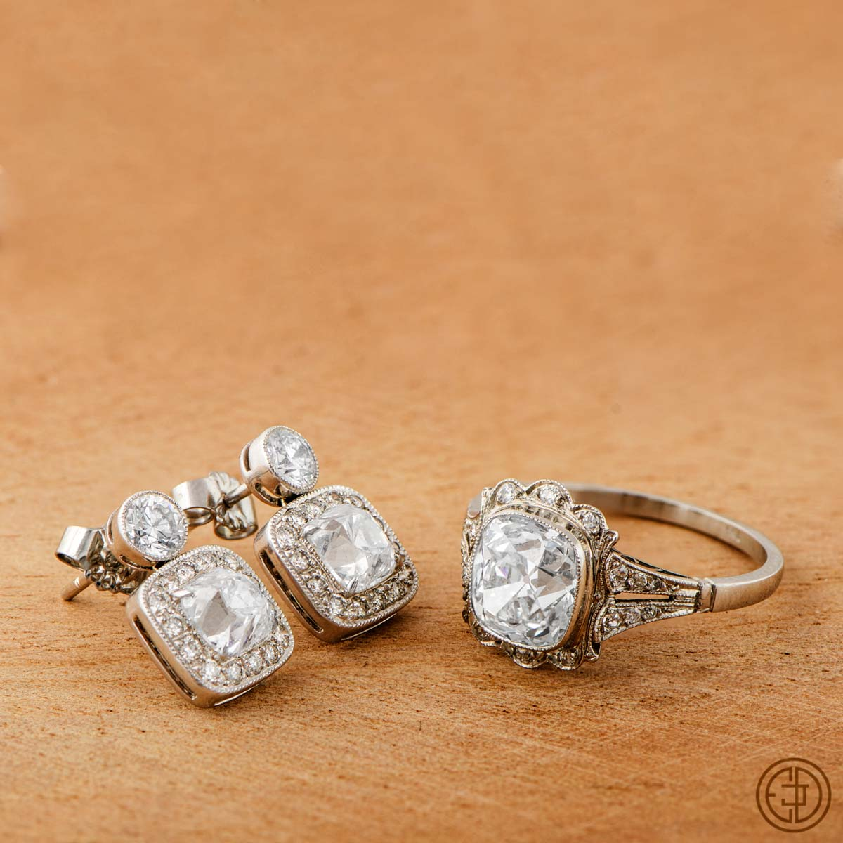 Vintage engagement ring and estate earrings set for Jewelry wedding rings