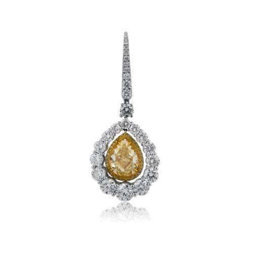 Yellow Diamond with Halo Earrings