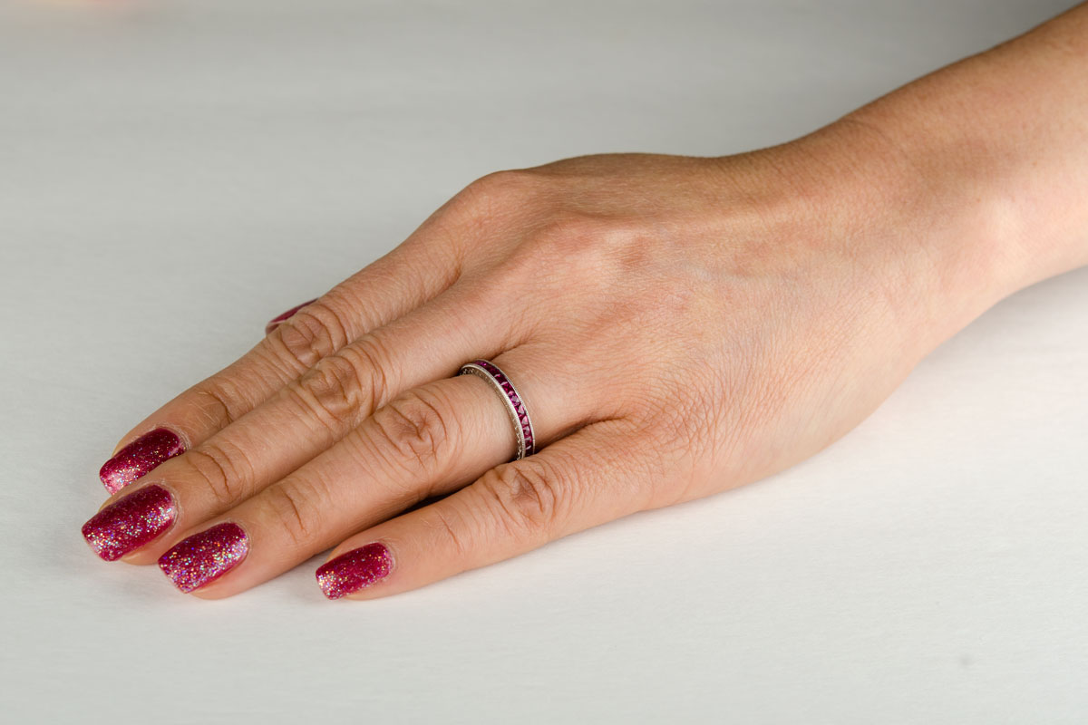platinum burma ruby eternity band platinum wedding band ruby and platinum wedding band on finger