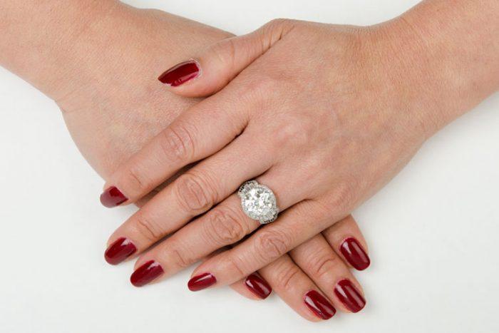Art-Deco-Antique-Diamond-Engagement-Ring-10851-on-Finger