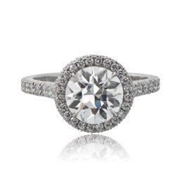 Diamond Halo Old Euro Engagement Ring