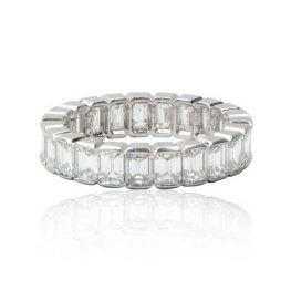 Emerald Cut Wedding Band Platinum