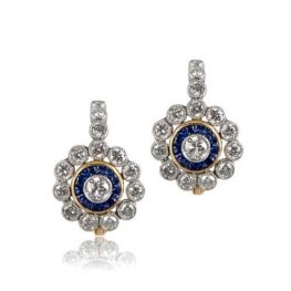 Diamond and Sapphire Halo Earrings