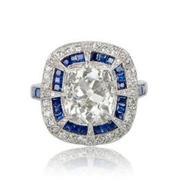 Diamond and Sapphire Cushion Cut Engagement Ring