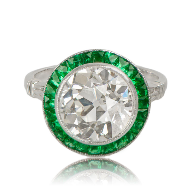 Diamond Engagement Ring with Emerald Halo Estate Diamond Jewelry