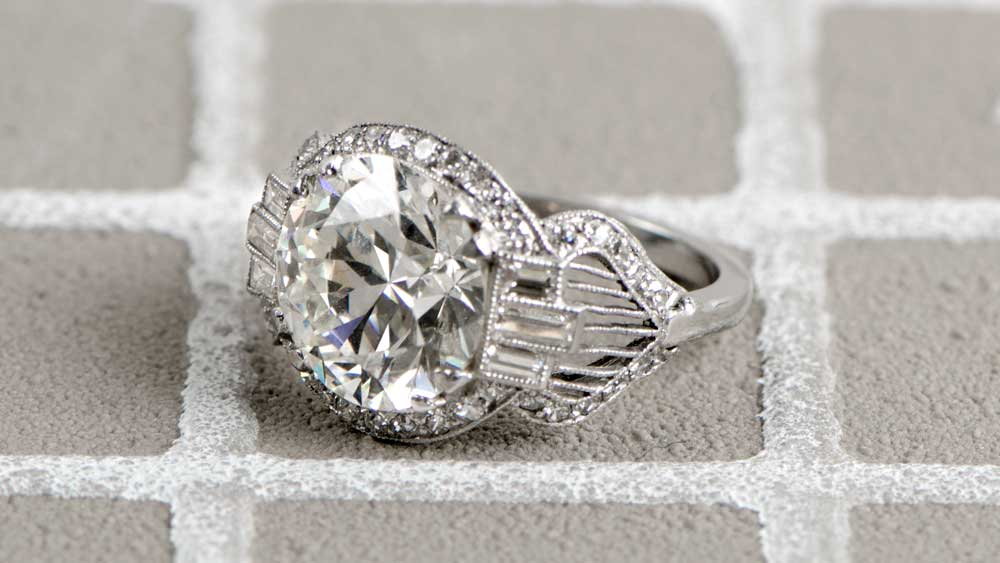Art Deco Engagement Ring with Filigree