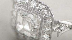 Close up filigree on Asscher cut ring