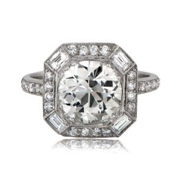 Diamond and Baguette Halo Ring